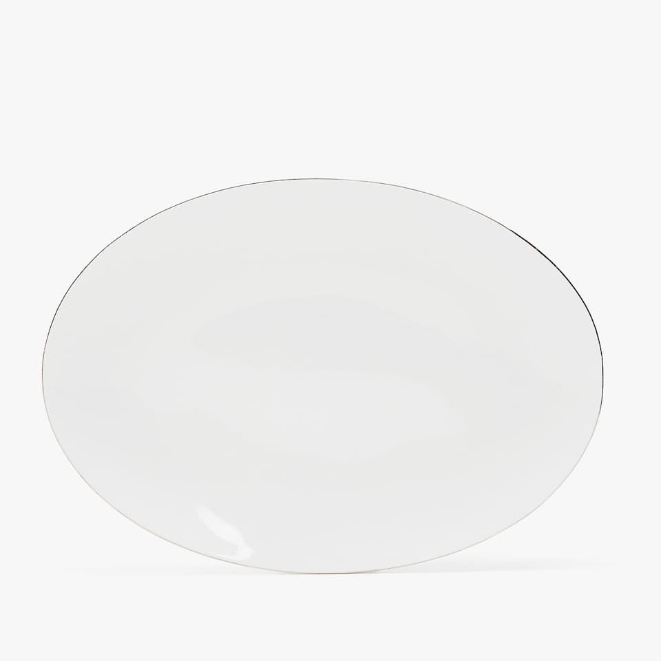 SILVER-RIMMED BONE CHINE SERVING DISH