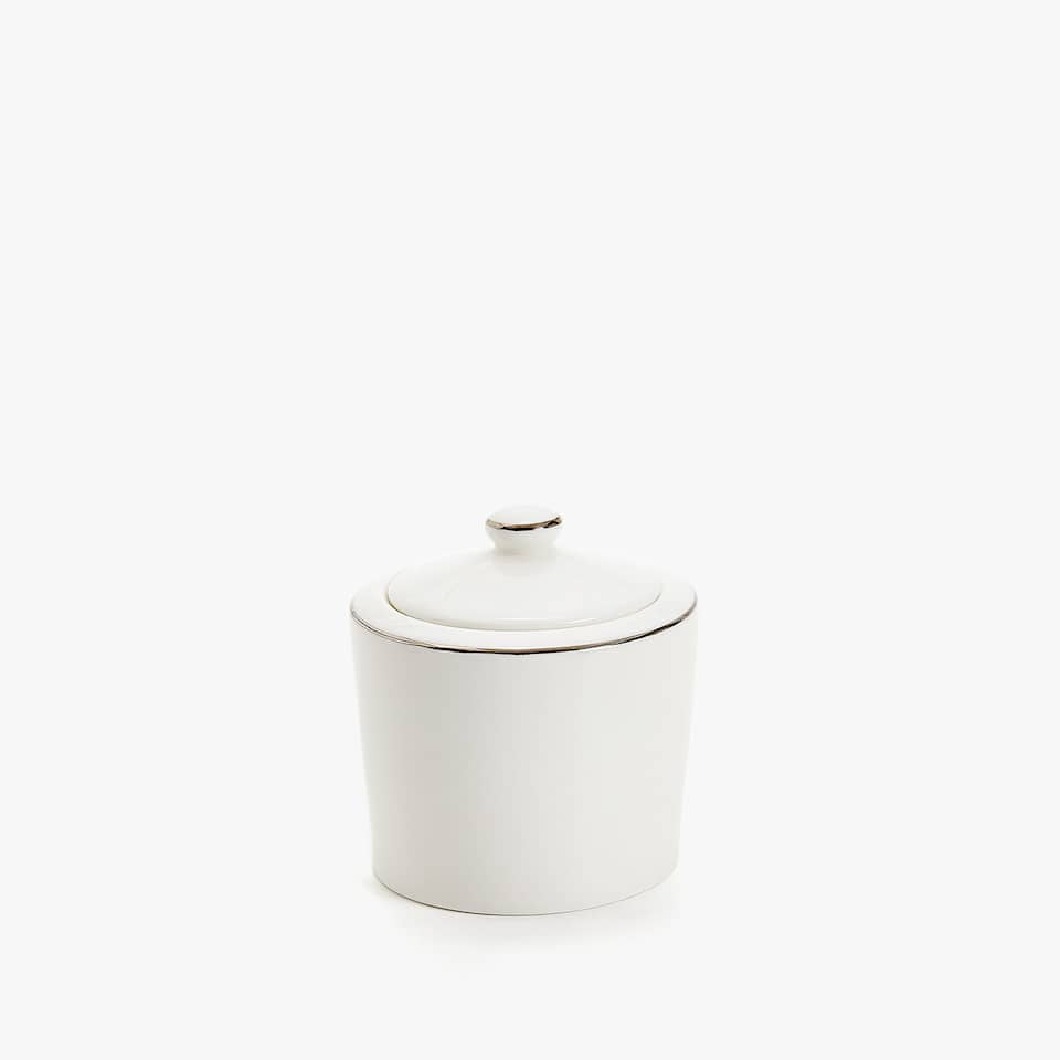 SILVER-RIMMED BONE CHINA SUGAR BOWL