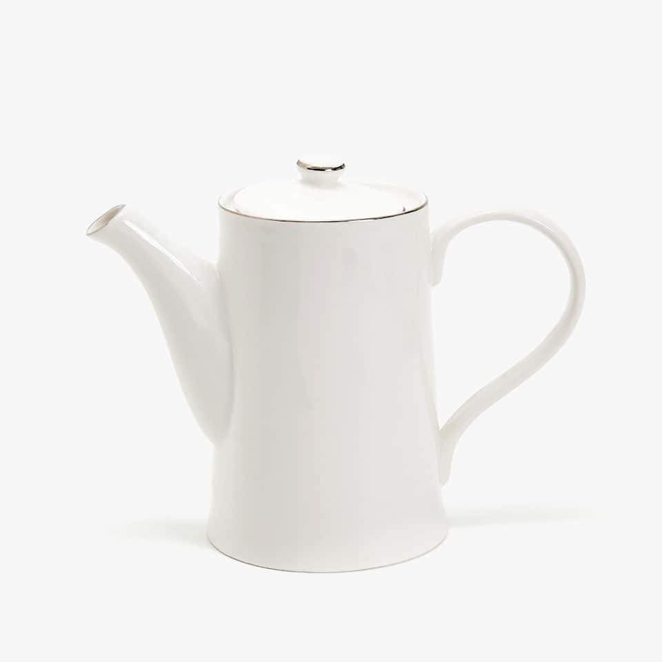 SILVER-RIMMED BONE CHINA TEAPOT
