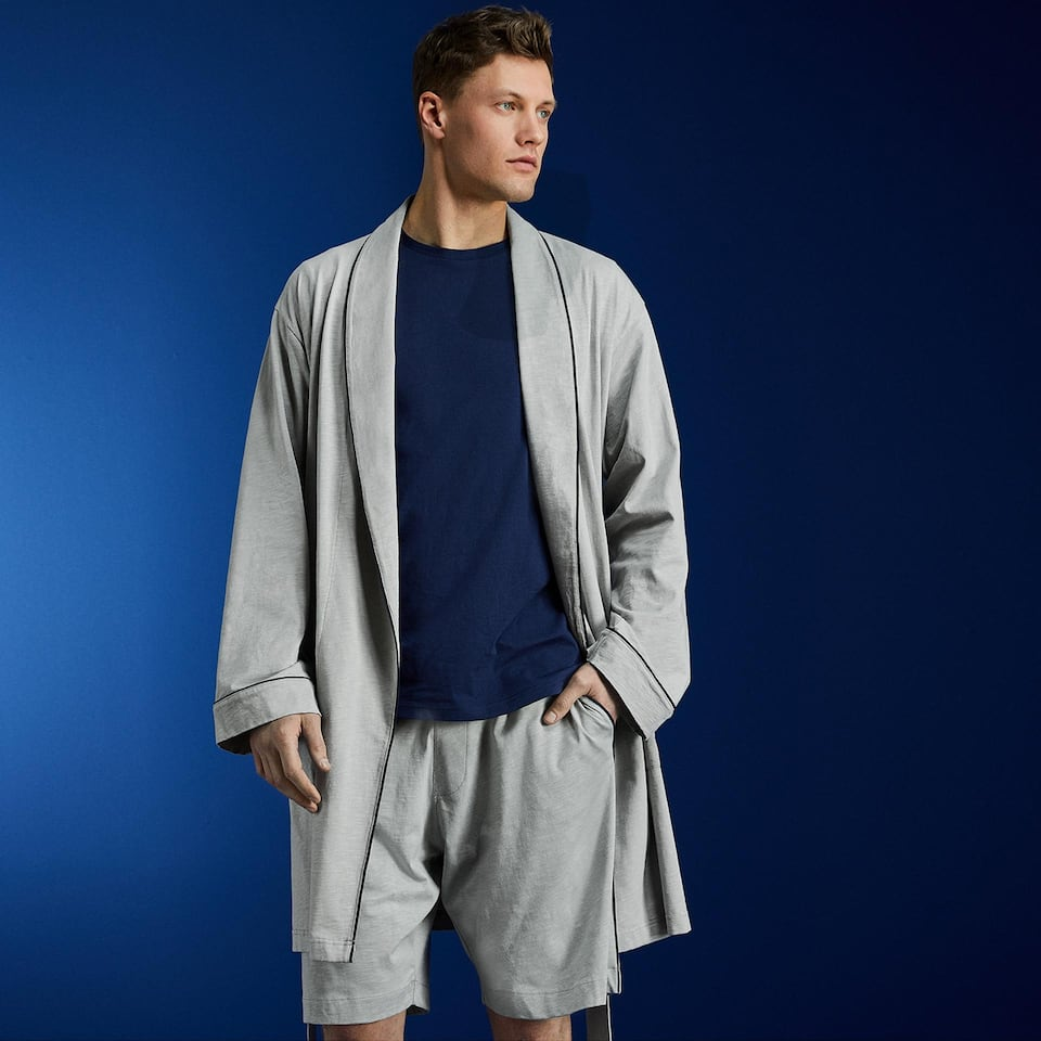 COTTON DRESSING GOWN WITH CONTRASTING PIPING