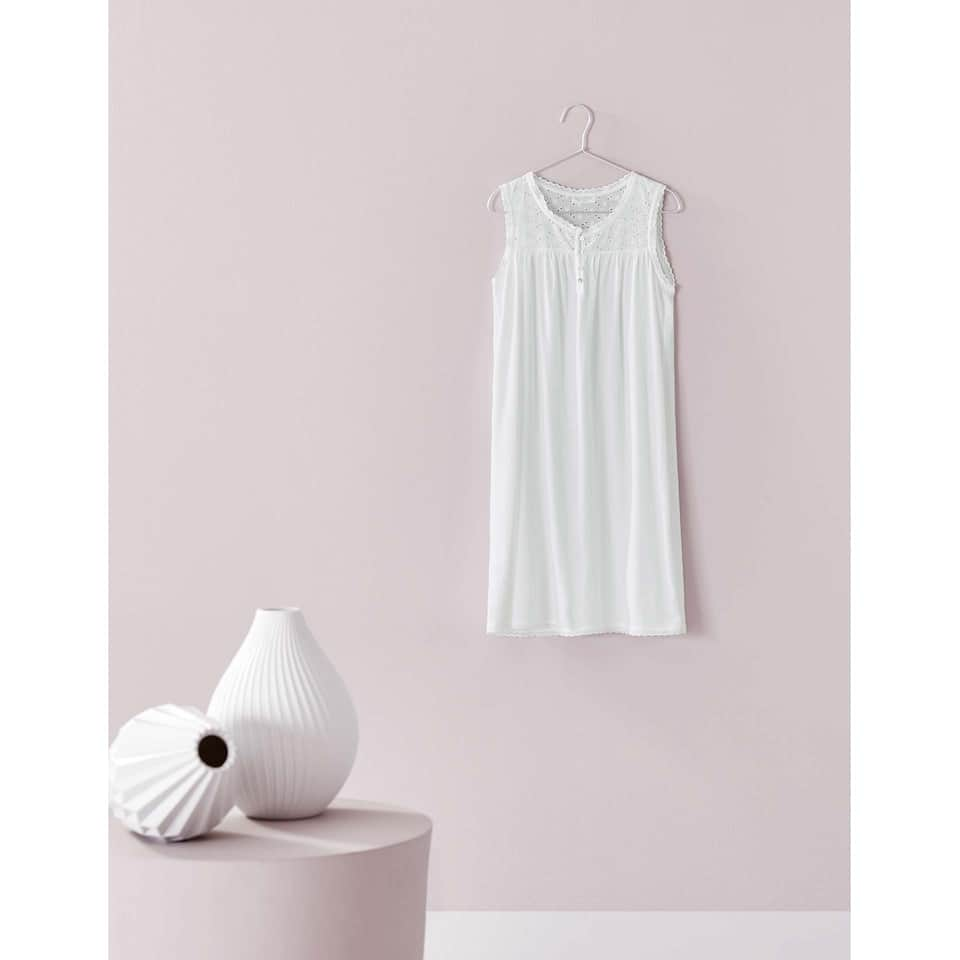EMBROIDERED NIGHTDRESS WITH FRONT BUTTONS