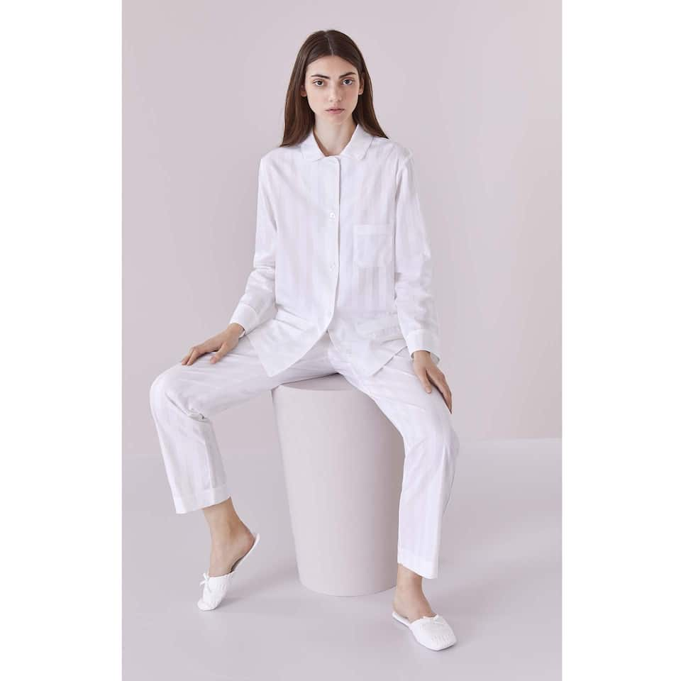 TWILL-EFFECT COTTON PYJAMA TROUSERS