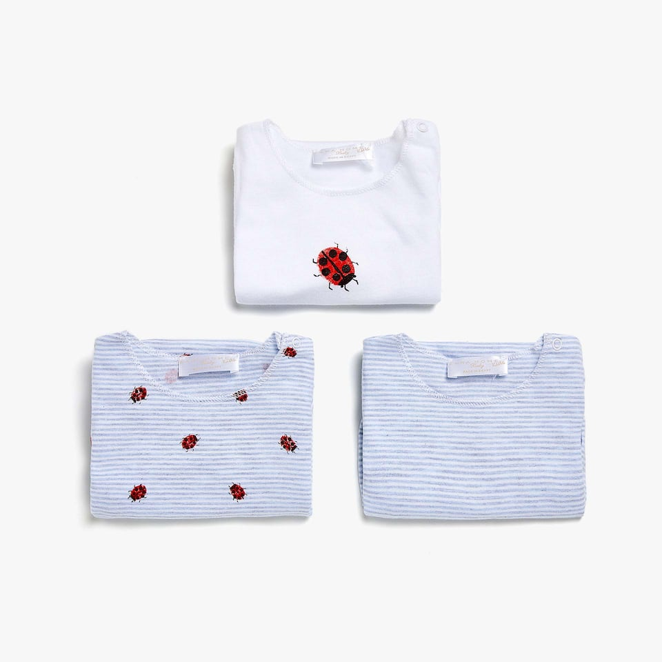 LADYBIRD PRINT COTTON BODYSUIT (SET OF 3)