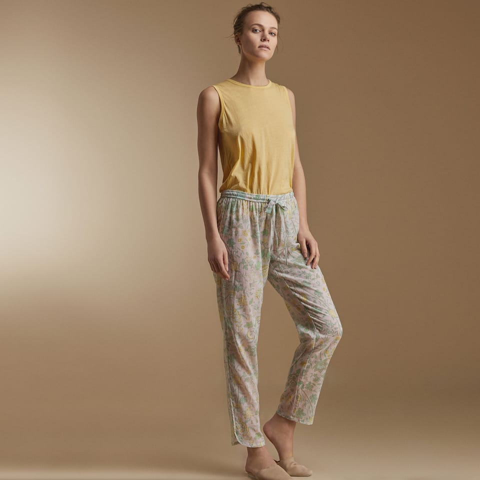 LIGHTWEIGHT FLORAL MOTIF TROUSERS