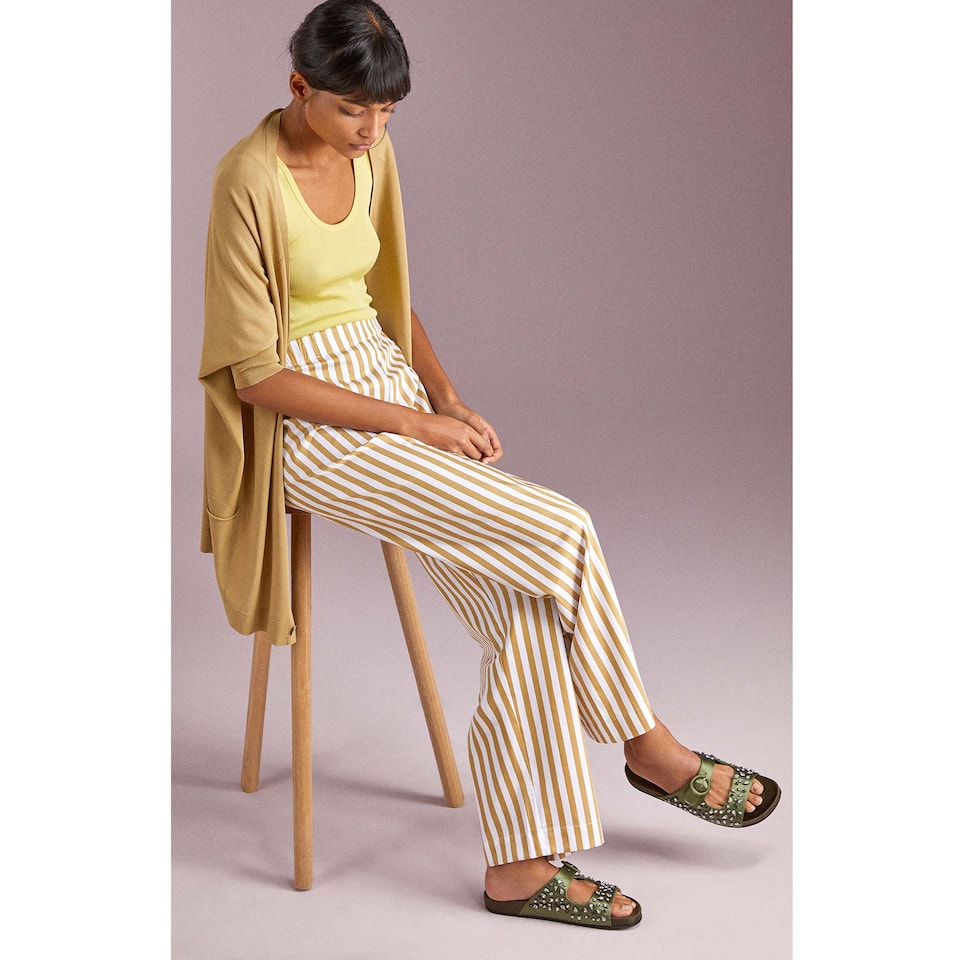 TWO-TONE STRIPED TROUSERS