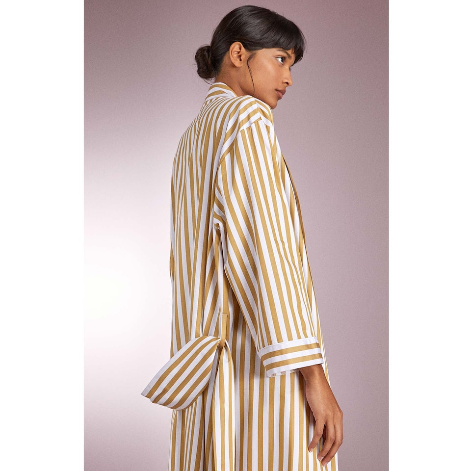 TWO-TONE STRIPED HOUSECOAT