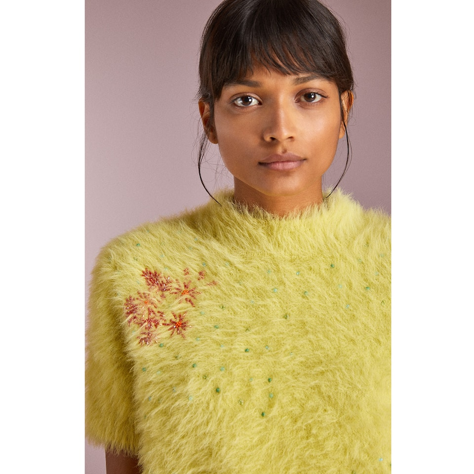 FUZZY SWEATER WITH EMBROIDERY AND BEADS