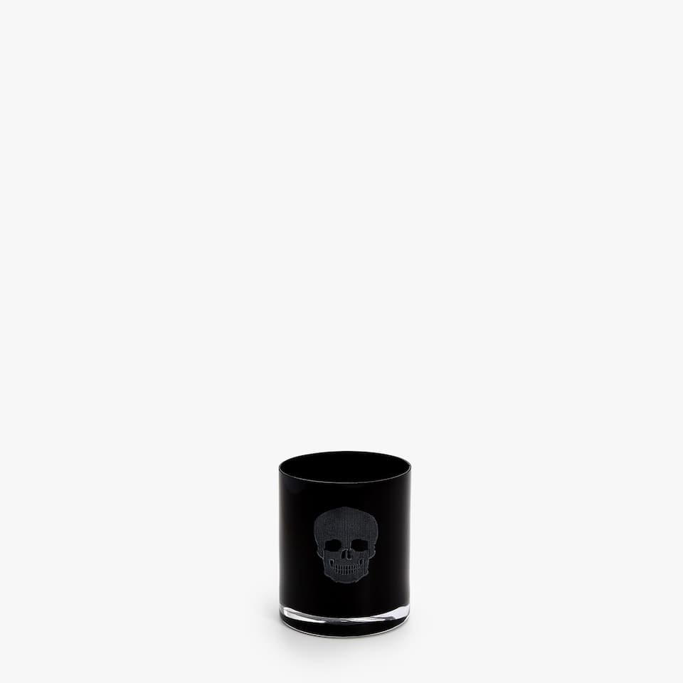 SHOT GLASS WITH ENGRAVED AND PAINTED SKULL