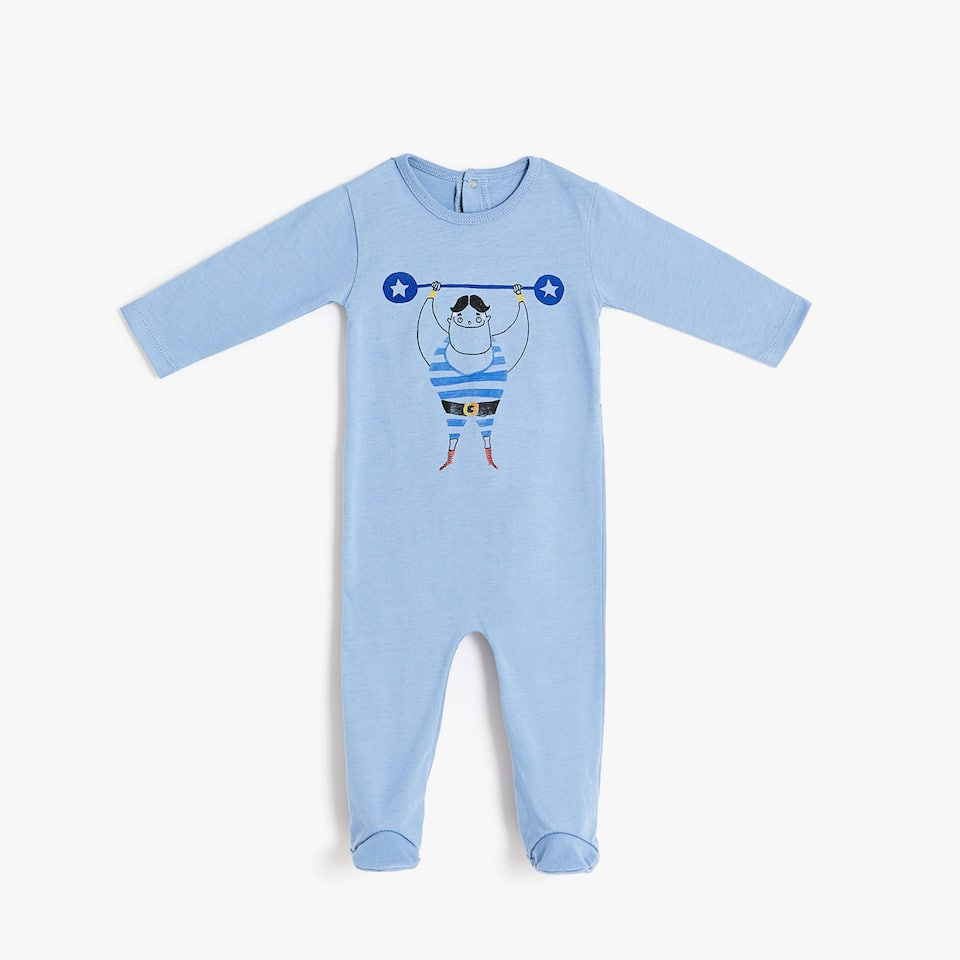 STRONG MAN DESIGN COTTON ROMPER SUIT