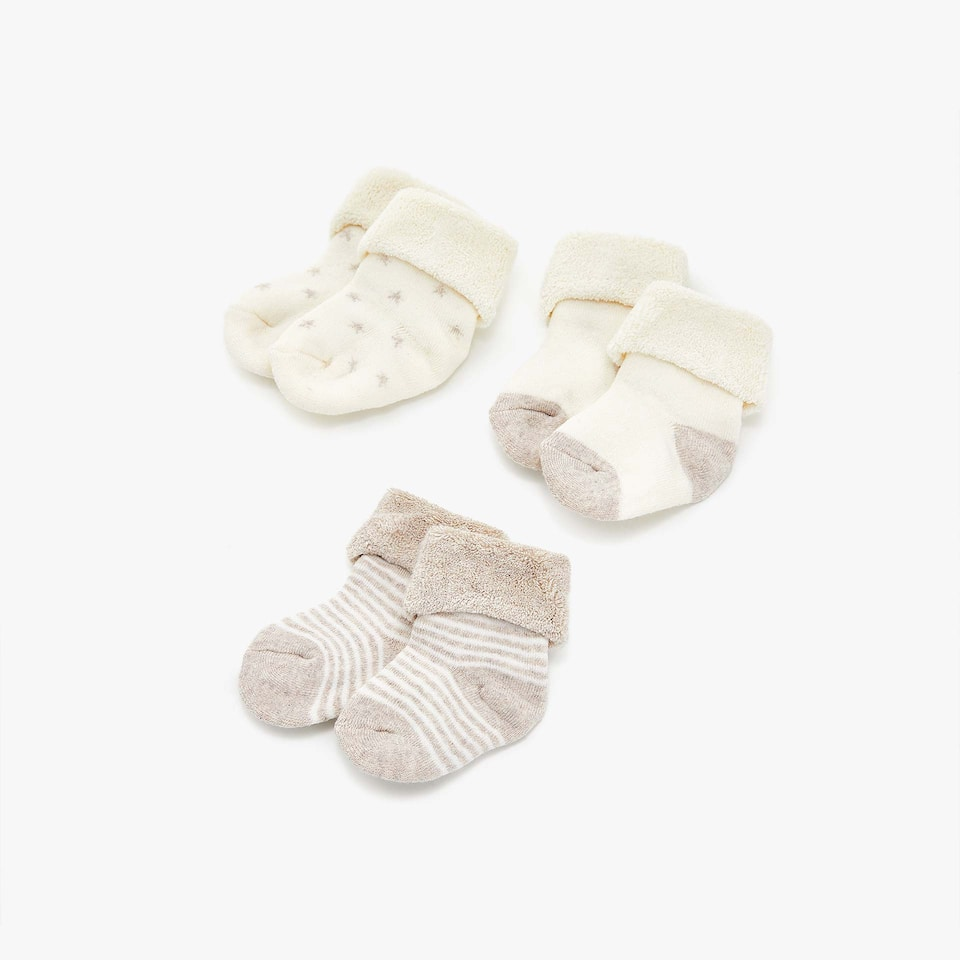 TAN AND CREAM-COLOURED SOCKS (SET OF 3 PAIRS)