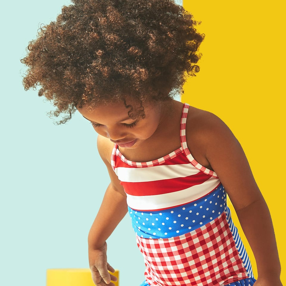 GINGHAM CHECK SWIMSUIT WITH RUFFLES
