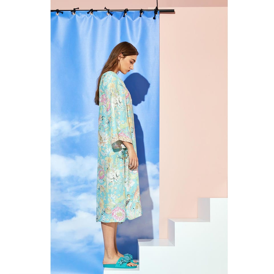 LONG SILK TUNIC WITH TROPICAL PRINT