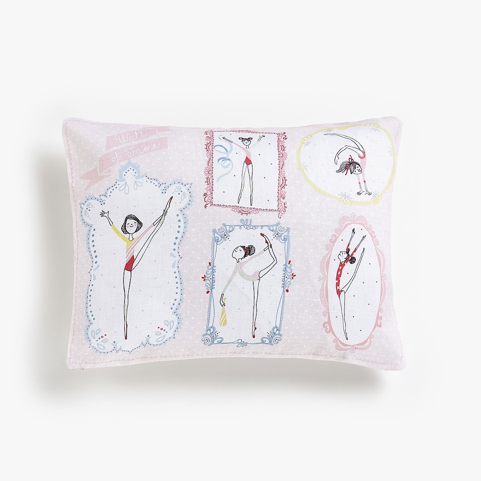 Kids gymnast linen cushion cover