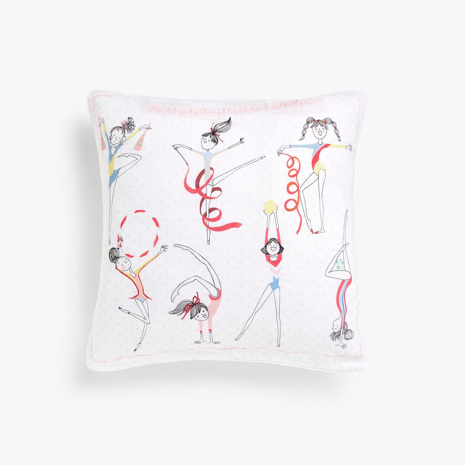 Kids athlete linen cushion cover