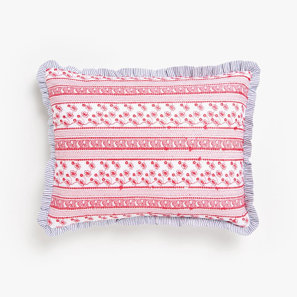 Kids embroidered cushion cover with frills