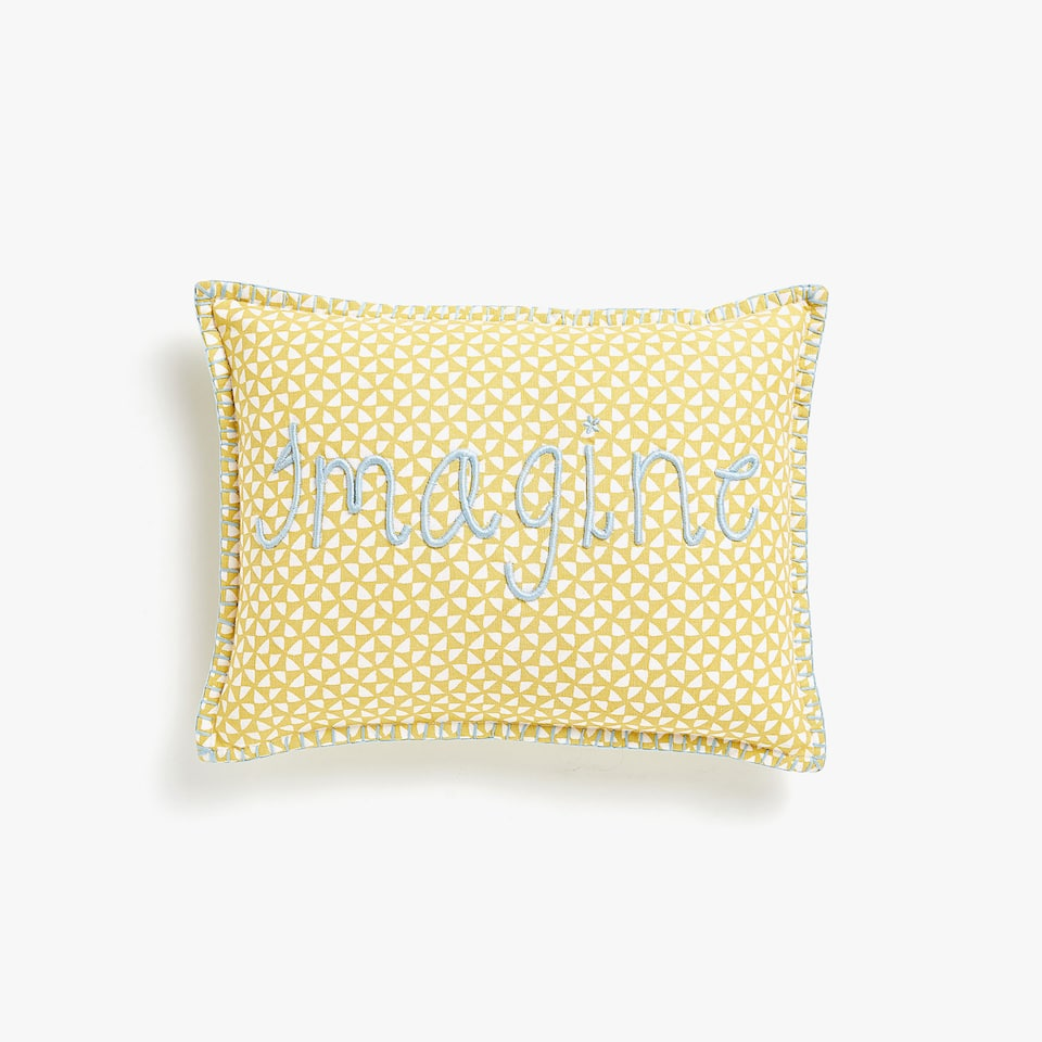 Kids embroidered print cushion cover