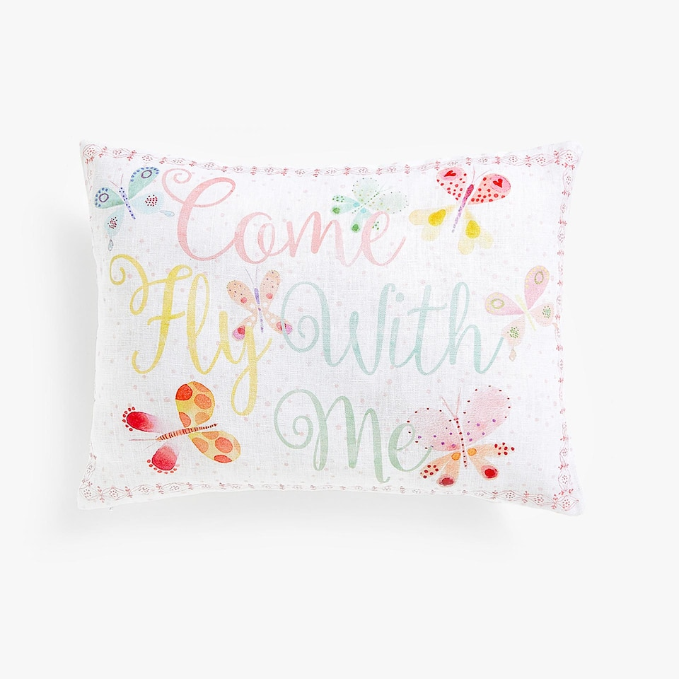 Linen cushion cover with slogan print