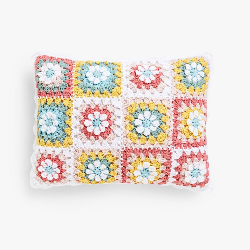 Kids crochet flowers cushion cover