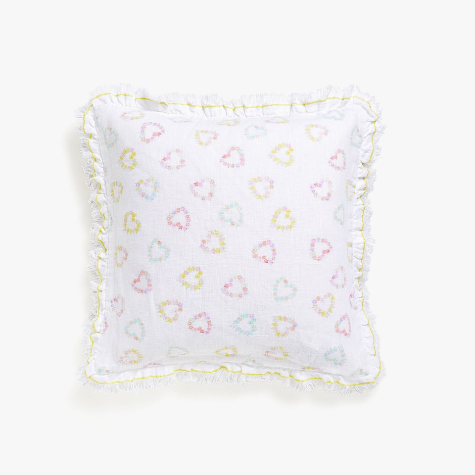 Kids printed linen cushion cover with frills