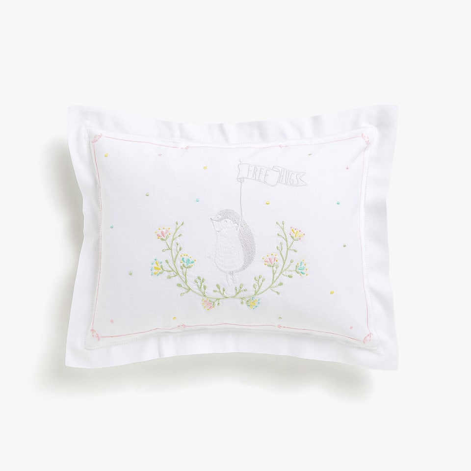 Kids cushion cover with embroidered hedgehog