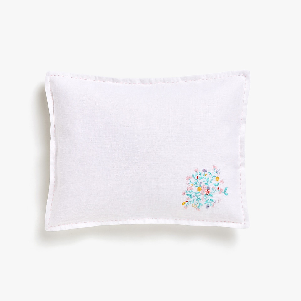 Kids linen cushion cover with embroidered flowers