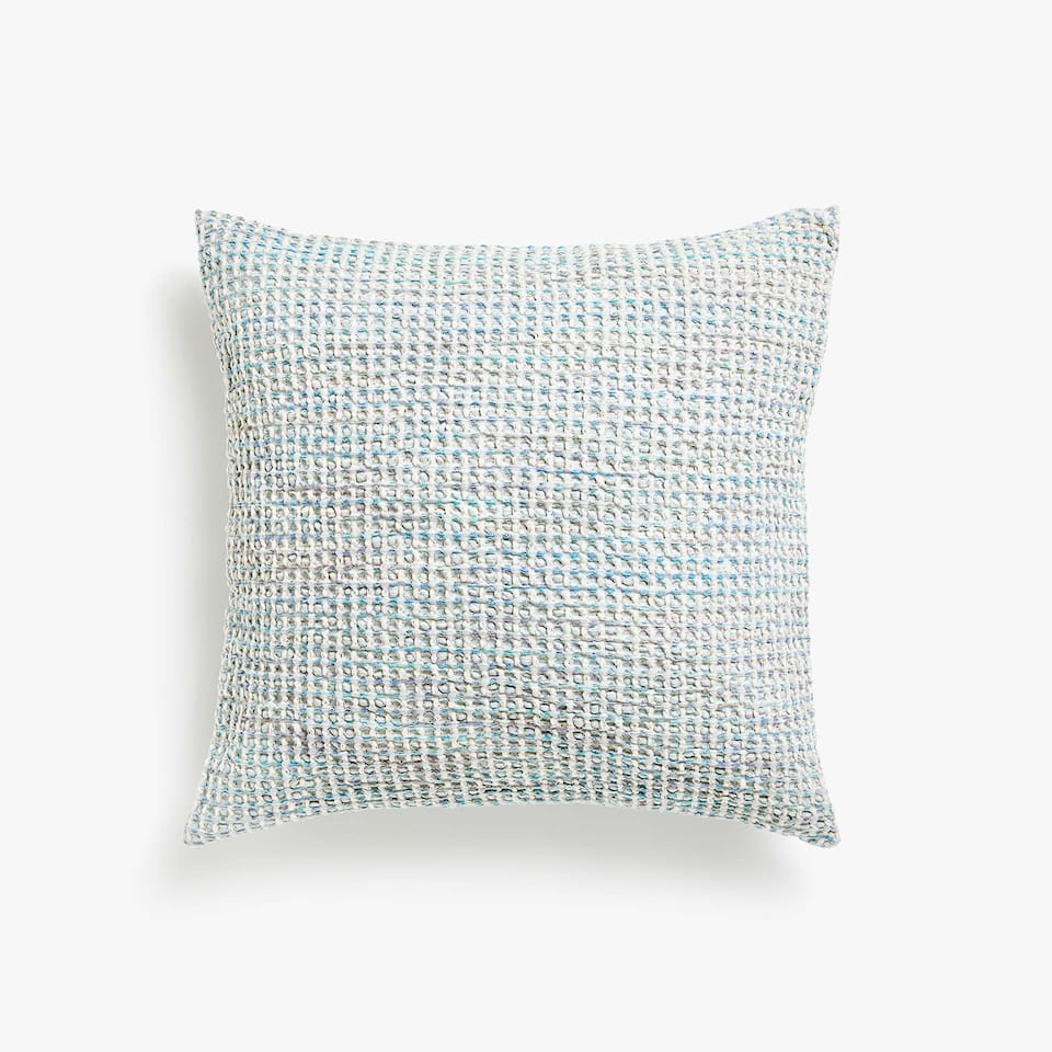 MULTICOLOURED WAFFLE KNIT COTTON CUSHION COVER