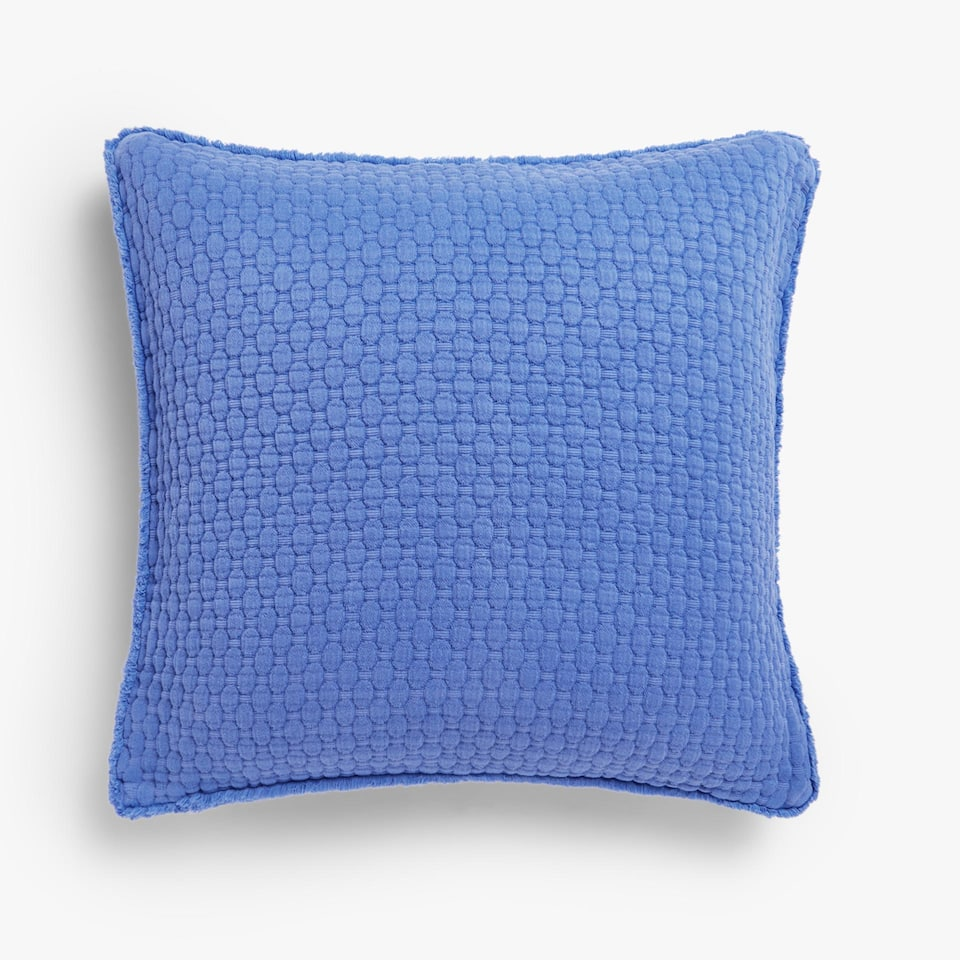 DOTTED COTTON CUSHION COVER WITH FRAYED EDGING
