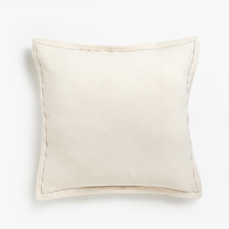 COTTON CUSHION COVER WITH CONTRASTING SEAM
