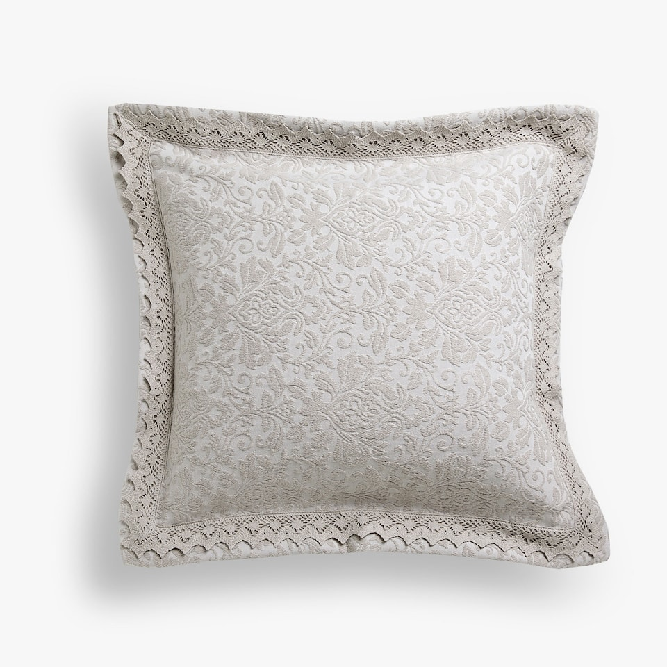 DAMASK COTTON CUSHION COVER WITH LACE TRIM