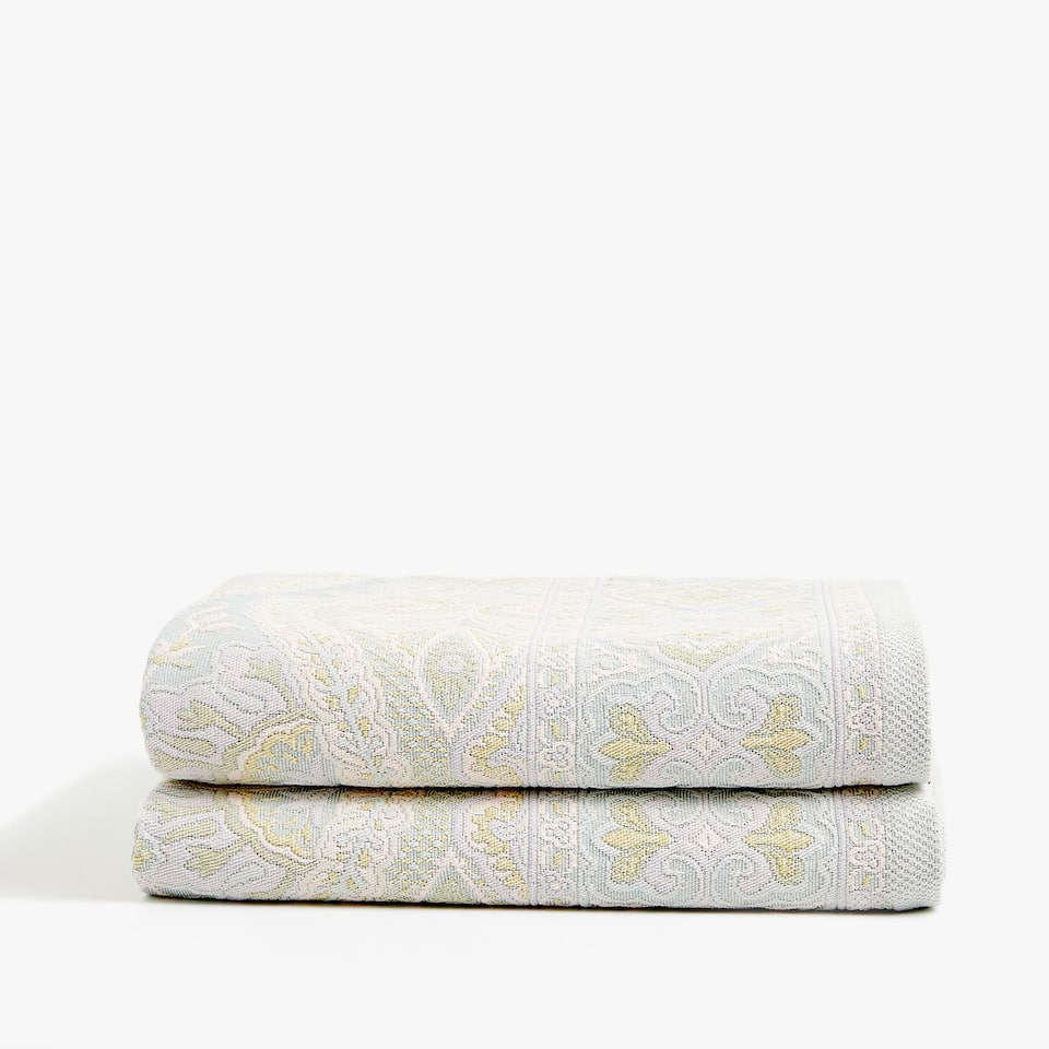 MULTICOLOURED DAMASK COTTON BEDSPREAD
