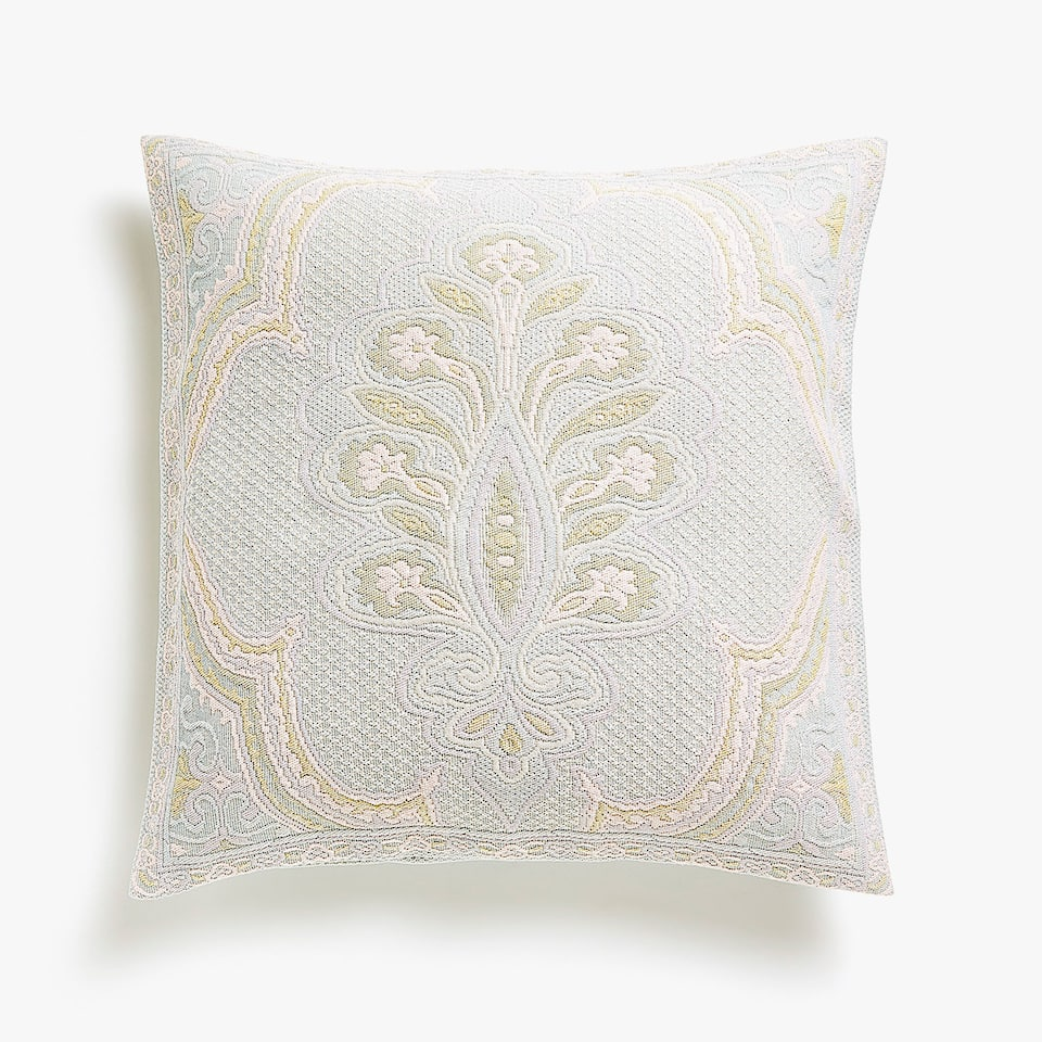 MULTICOLOURED DAMASK COTTON CUSHION COVER
