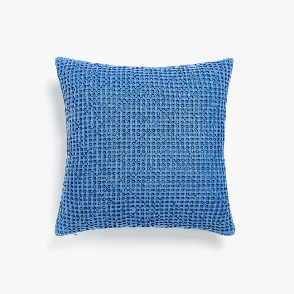 FADED-EFFECT WAFFLE KNIT COTTON CUSHION COVER