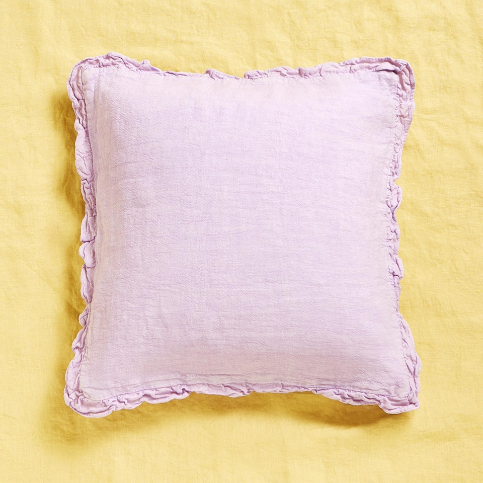 Linen frill cushion cover
