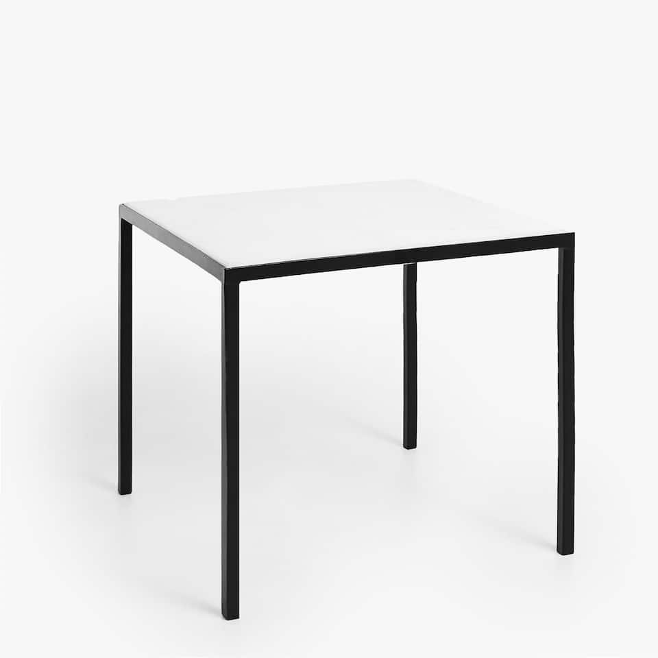 BLACK METAL SIDE TABLE WITH MARBLE TOP