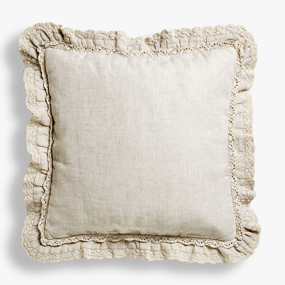 LACE TRIM WASHED-EFFECT LINEN CUSHION COVER