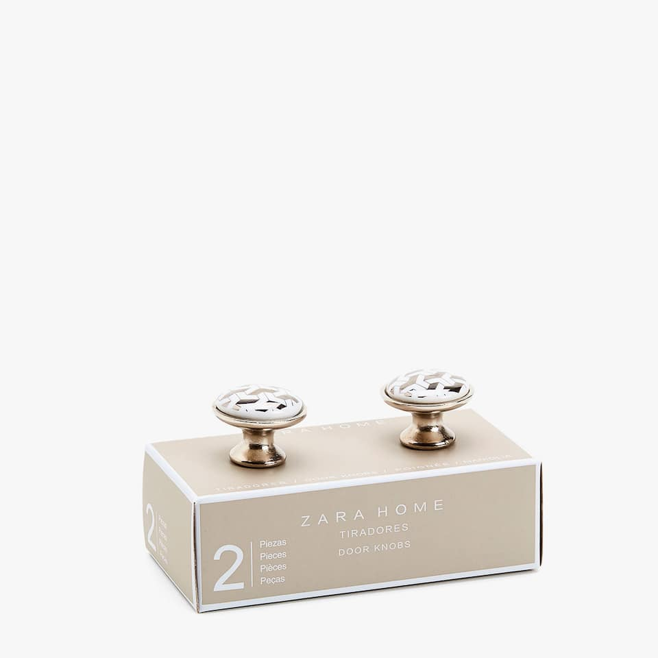 WHITE AND METAL KNOB WITH TRANSFER (SET OF 2)
