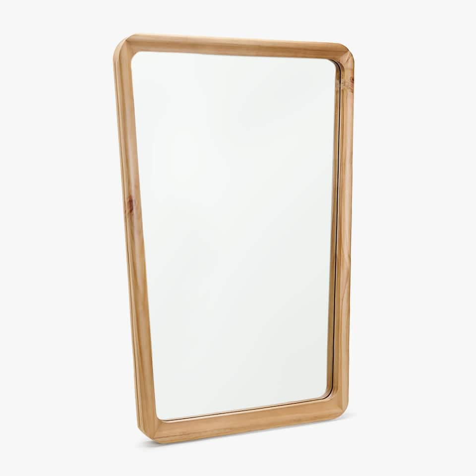 WOODEN MIRROR WITH IRREGULAR FRAME