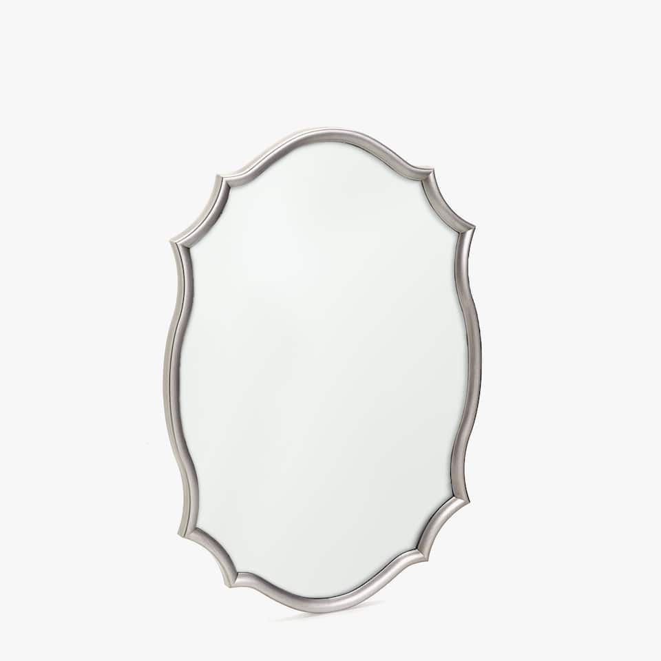 SILVER MIRROR WITH WAVY FRAME