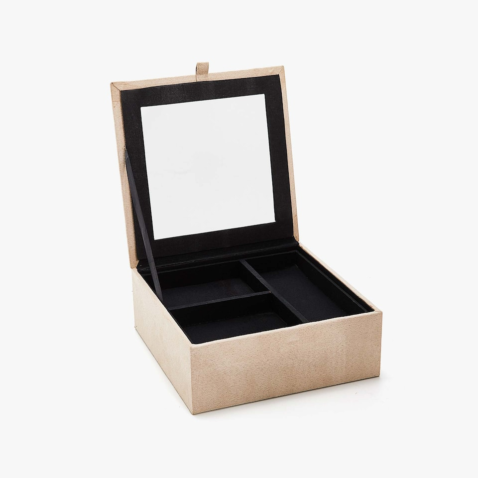 FAUX SUEDE FINISH JEWELLERY BOX