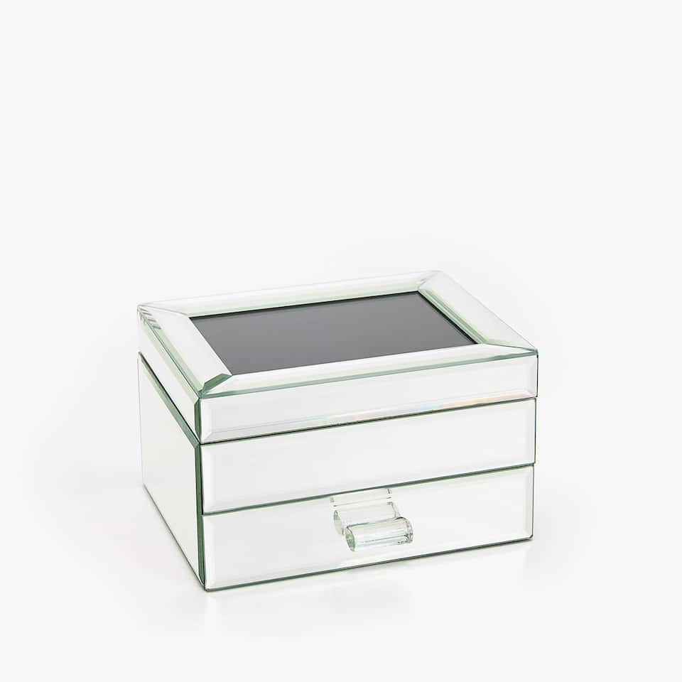 MIRRORED JEWELLERY BOX WITH COMPARTMENTS