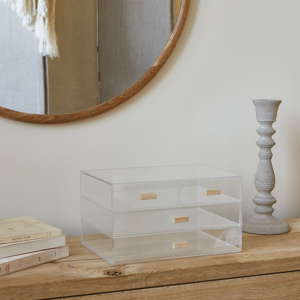 ACRYLIC BOX WITH WOODEN HANDLES