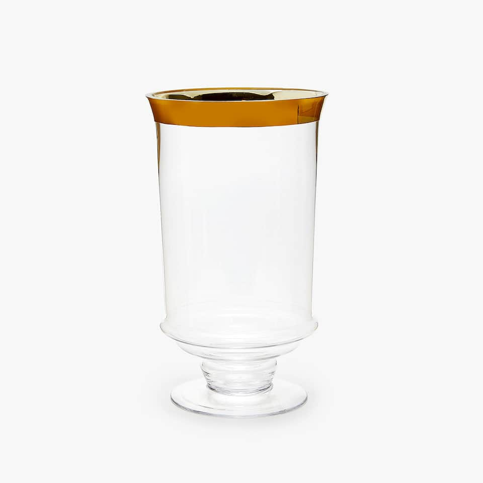 GOLD RIM GOBLET-SHAPED VASE