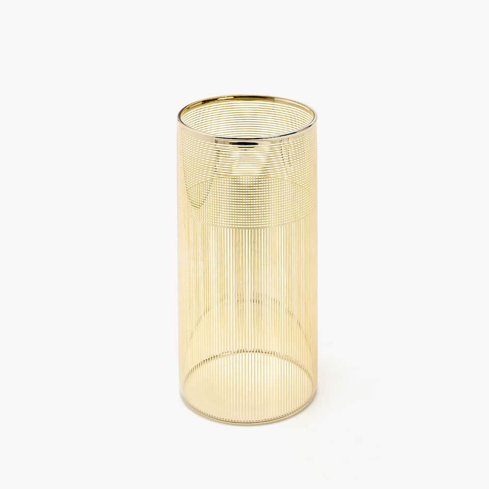 GOLD TRANSFER BOROSILICATE GLASS VASE