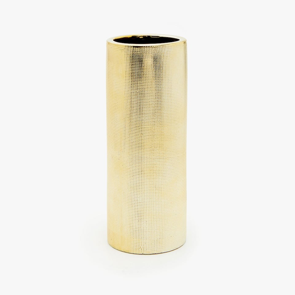 GOLD CERAMIC ETCHED VASE
