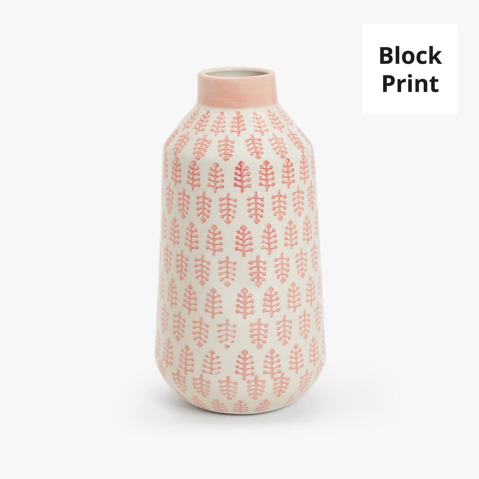 CORAL PAINTED CERAMIC VASE