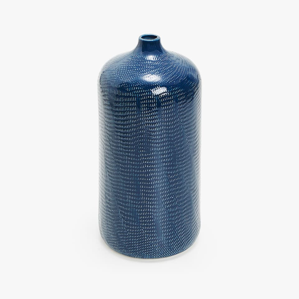 BLUE CERAMIC LARGE VASE