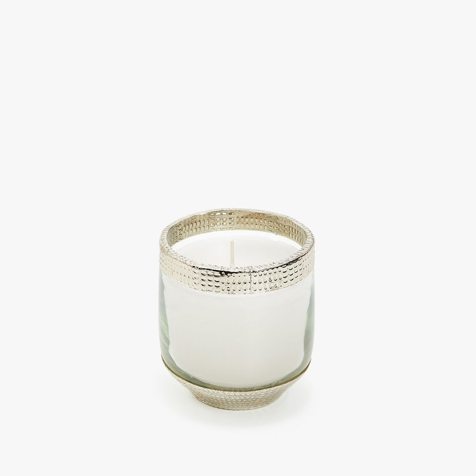 CLEAR CANDLE HOLDER WITH METAL BASE