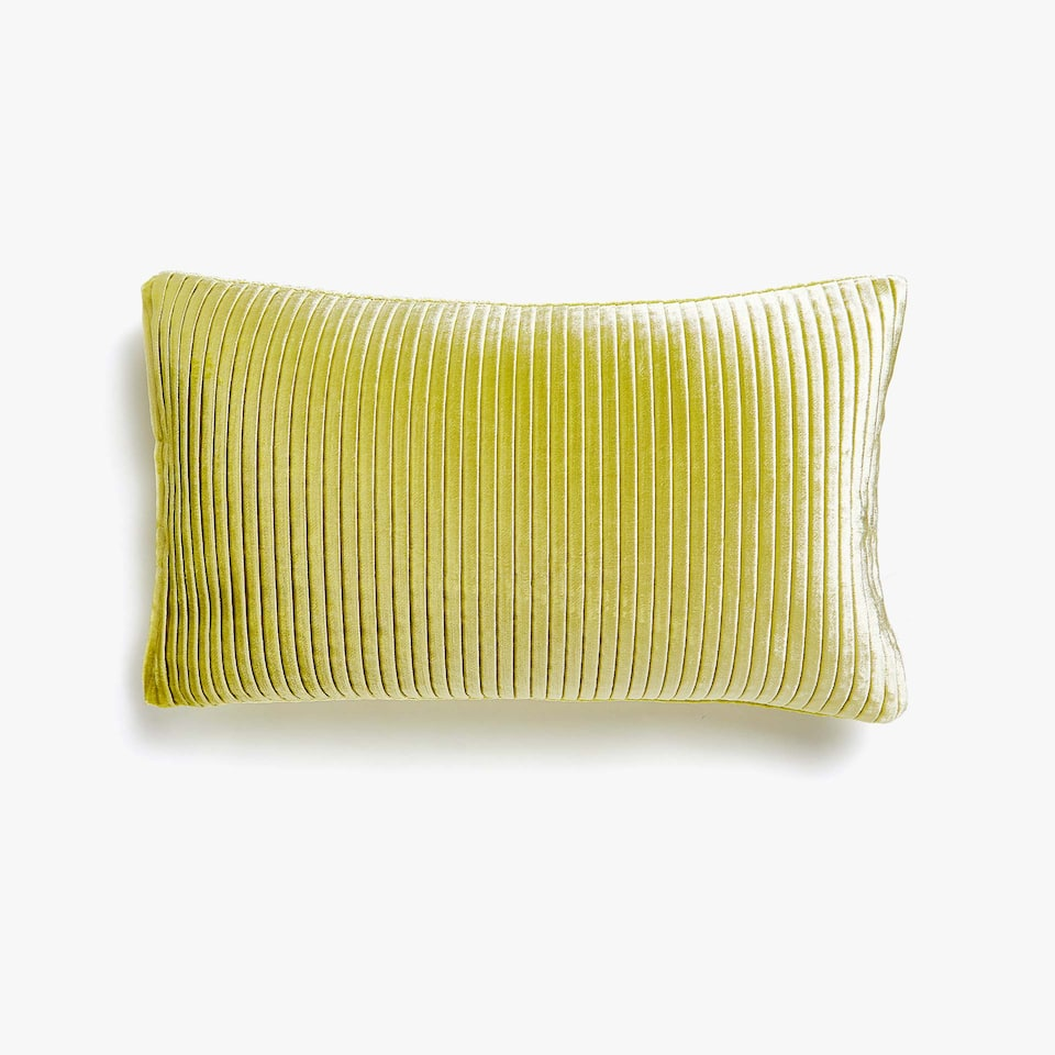 Pleated velvet cushion cover
