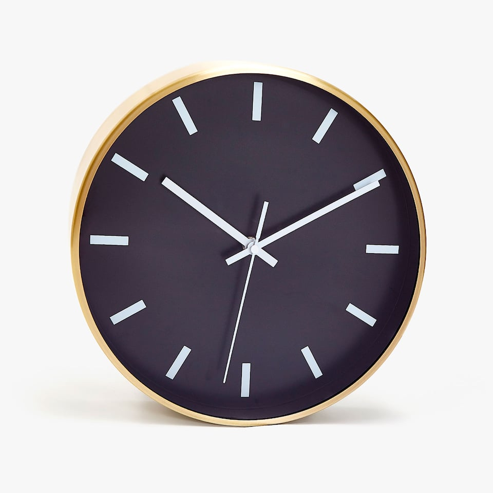 BLACK WALL CLOCK WITH GOLD BORDER