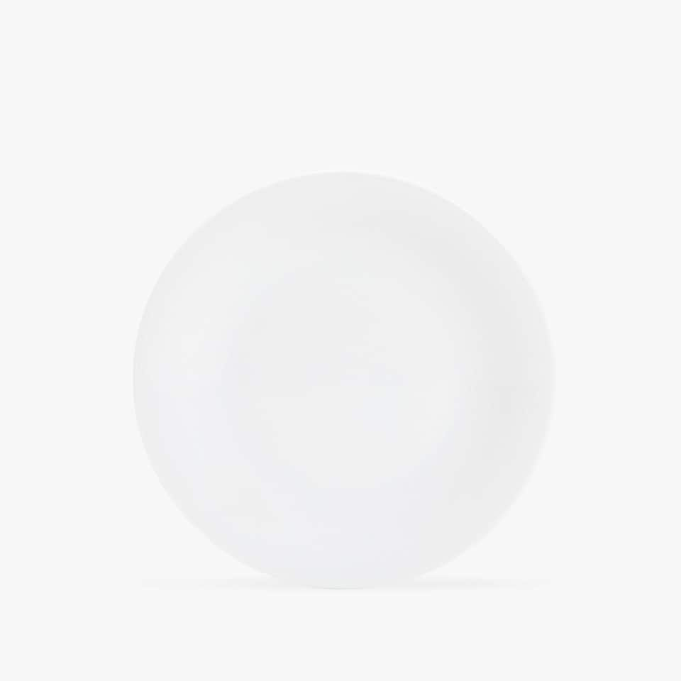 PORCELAIN DESSERT PLATE WITH LINEAR DESIGN